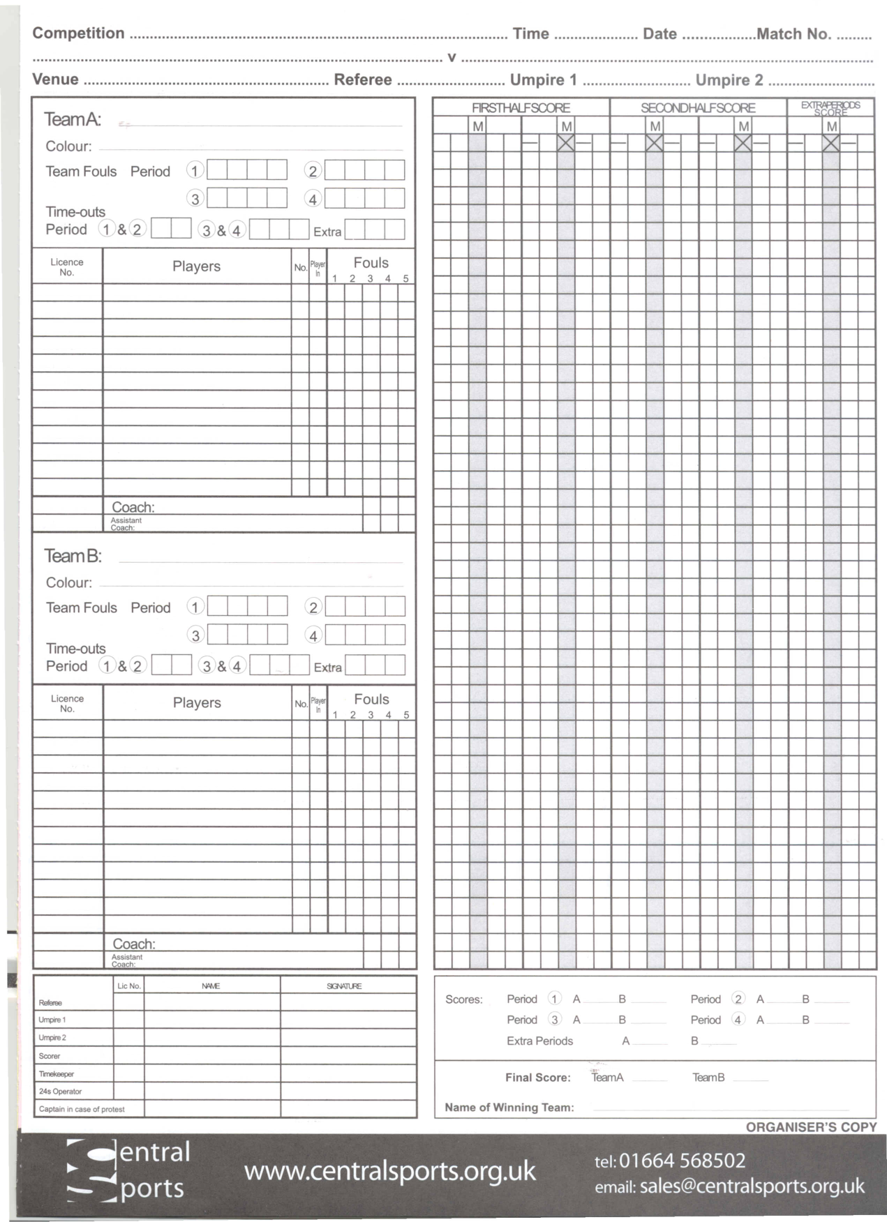 Blank Basketball Score Sheet